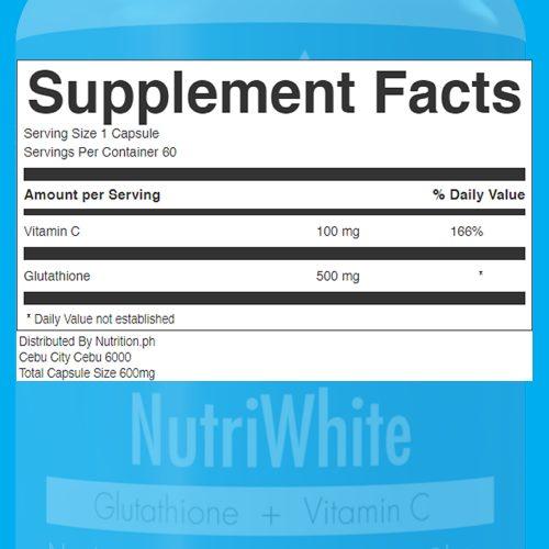 NutriWhite Glutathione Capsules Supplement Facts