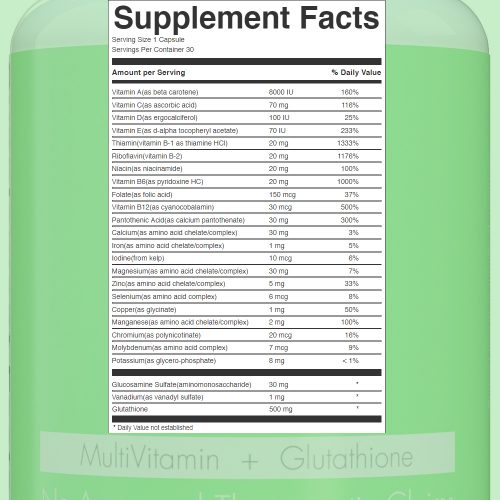 Multiwhite_glutathione plus multivitamin Supplement Facts