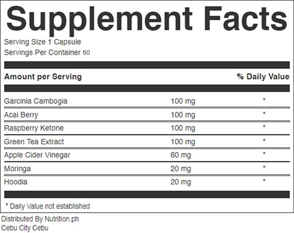 nutritrim_supplement_facts