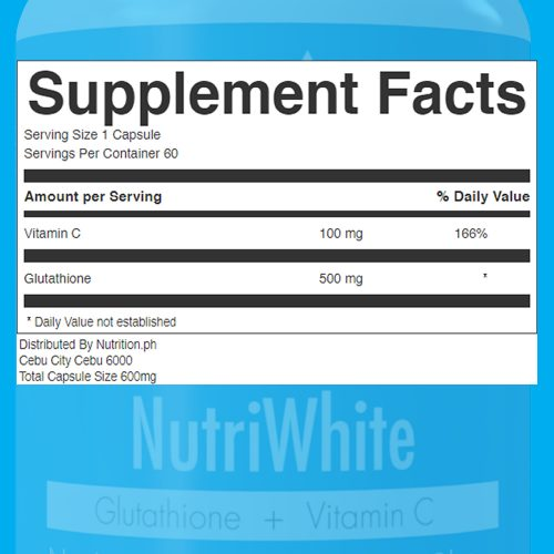 NutriWhite Glutathione Capsules Supplement Facts