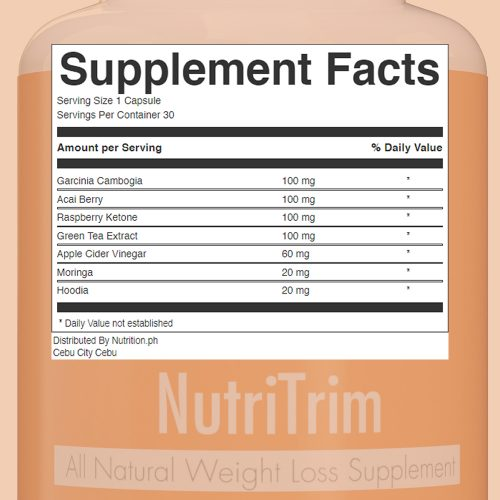 NutriTrim_All_Natural_Weight_Loss_Supplement Facts