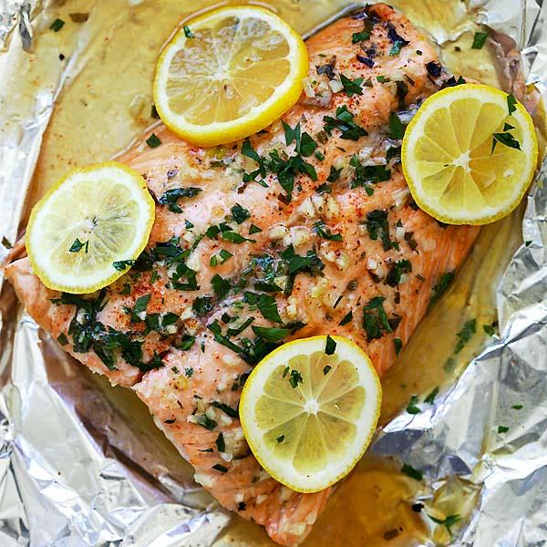 Lemon Garlic Salmon Dish: Healthy Meal and Food